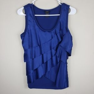Ann Taylor | Women's Ruffled Navy Tank Top